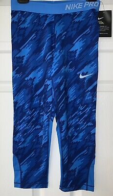 NWT Nike Pro Cool Dri Fit Youth Girls Blue Printed Leggings Size Extra Large XL