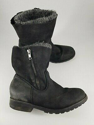Next size 1 kids black nubuck leather side zip knitted lining ankle boots
