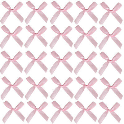 SLIM BABY PINK BOWS 3cm Small Wide Pre-Tied Bow 7mm Satin Ribbon Craft Wedding