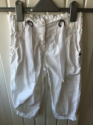 Little Girl's Clothes 6-7yrs - White Cropped Beige Stitch Cotton Trousers NEXT