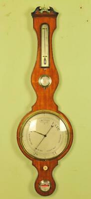 FINE SATINWOOD REGENCY BAROMETER - Lione and Somalvico , London