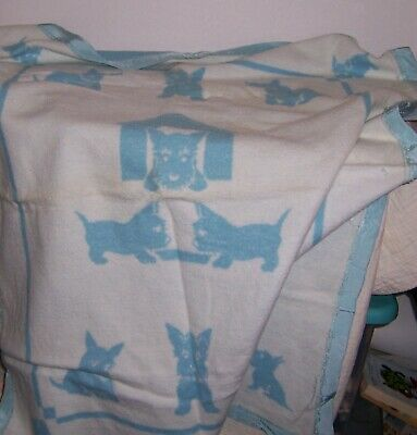 "Vintage Used Baby Blanket With Scottie Dogs Blue & White 46"" By 36"""