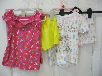 Girls Mothercare Outfit Set Age 3 - 4 Years Bundle Pink Yellow Shorts Tshirt Top