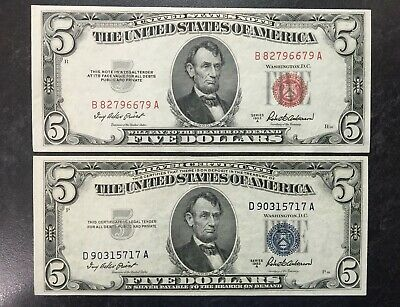 Set Of 2 1953 A $5 United States Silver Certificate & Red Seal Notes Au/Bu