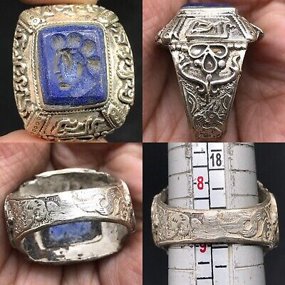 Medieval  lapis lazuli stone King seal intaglio Antique Ring