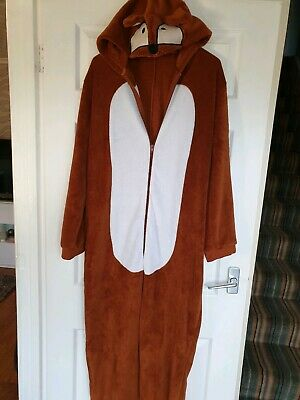 Excellent Condition  . Brown / white animal all-in-one sleepsuit Size 16/18