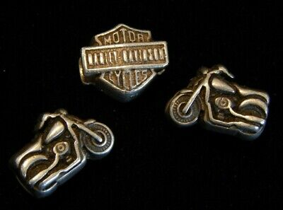 3 Collectible Harley-Davidson® .925 Silver Motorcycle And Logo  Ride Bead Charms