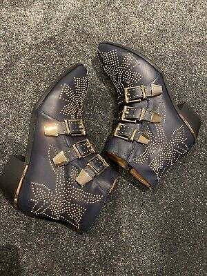 Leather Navy And Gold Studded Boots BNWOT - Size 38/5