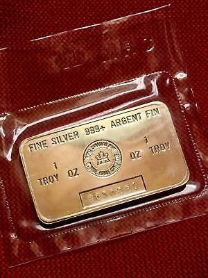 Scarce 1 oz Royal Canadian Mint 999+ Fine Silver Bars - 'C' Series in Mint Seals