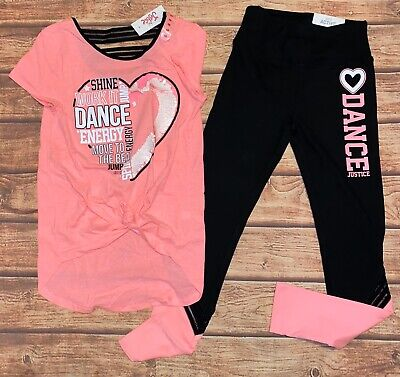 NWT Justice Girls Dance Active Outfit Set Size 10 With Dance Bag