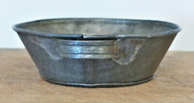 Antique 19th C TINWARE Dark Tin MILK Pan SHAKER Folk Art ENFIELD Early Kitchen
