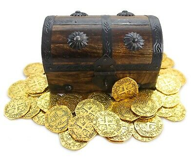 Wood Pirate Treasure Chest Strongbox 6.5x4x4 with 32 Metal Antique Style Gems
