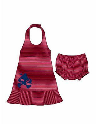 Baby Girl Girls 6m month months Red Striped Mickey Mouse halter dress bloomers N