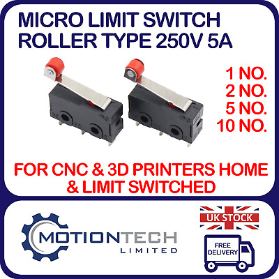 Micro Limit Switch Roller type 250V 5A N/O N/C for CNC Machine & 3D Printer