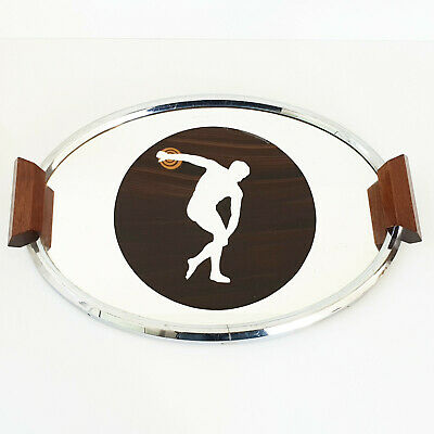 Plate Art Deco French 1920 1930 Wooden & Metal Launcher Record 20S 30S
