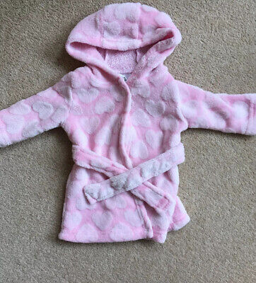 Baby Girls 0-3 Months White And Pink Dressing Gown Bath Robe By George