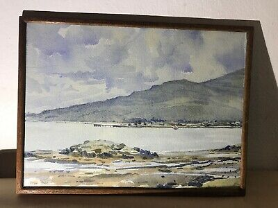 Lovely Early 20th Century Watercolour Painting Of Coastal Scene In Wood Frame