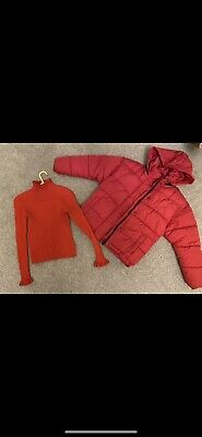 NEXT Girls Red Puffa Jacket And Matching Frill Polo Neck - Age 10 - Excellent Co