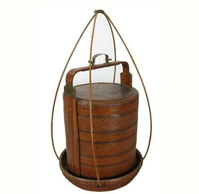 Chinese Antique Bamboo Food Box w Basket