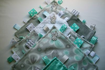 Aqua, Gray & White So Very Soft & Cuddly Handmade Tag/Security Blanket w/Kitty
