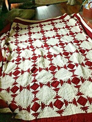 Wonderful red and white large and heavy 94  x 96 inches