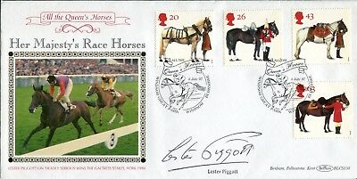 Benham Race Horses FDC signed by Derby winning jockey Lester Piggott