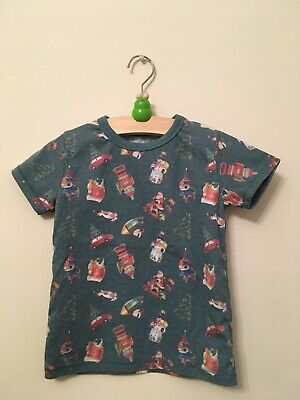 Boys Age 2-3 years Next Christmas T-shirt Top - green with novelty decorations