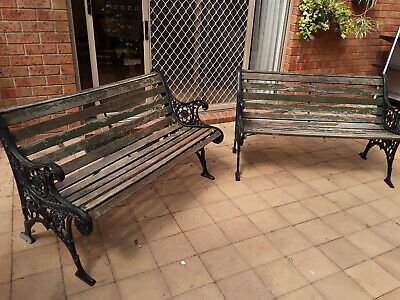 2 garden benches- Cast iron and timber
