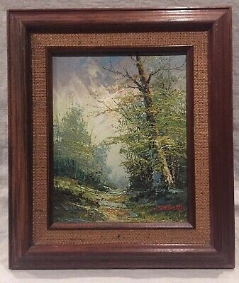 """Oil Painting on Wood with Forest Scenery Signed Stagerda, Framed 14.5""""x12.5"""""""