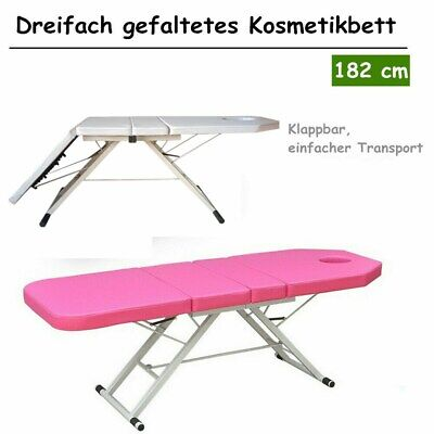 Portable Folding 3 Sections Massage Table Tattoo Beauty Salon Therapy Couch Bed