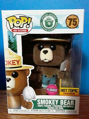 Funko Pop! Ad Icons SMOKEY BEAR (FLOCKED)! Hot Topic Exclusive! New In Hand! #75