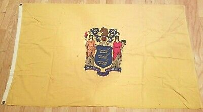 RARE STATE OF NEW JERSEY ANTIQUE FLAG LINEN 1950's Large 3 x 5 ft VINTAGE