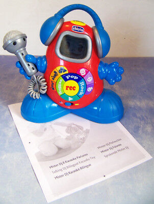 CHICCO musical TALKING DJ Karaoke TOY with MICROPHONE also TEACHES abcs, shapes,