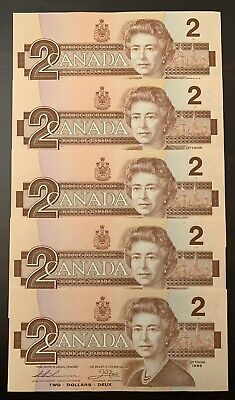1986 - 5 Consecutive Canadian Two Dollar 2$ Banknote, Bank Of Canada