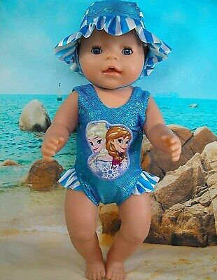 """Dolls clothes for 17"""" Baby Born Doll~FROZEN SISTERS TURQUOISE SWIMMING COSTUME"""