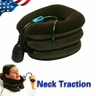 Neck Head Pain Traction Support Brace Device Air Inflatable Pillow Cervical US