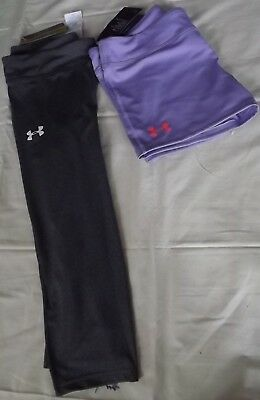 UNDER ARMOUR Girls Shorts and Girls Capris Lot of 2 sz XL Purple Gray NWT