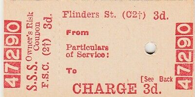 VR SSS, Flinders St 3d ticket, Gd-VG used Cond