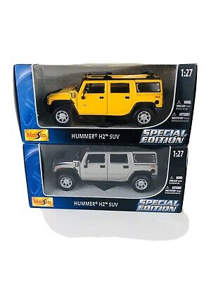 2- Maisto Special Edition Hummer H2 SUV- Yellow & Silver 1:27 Die Cast Metal
