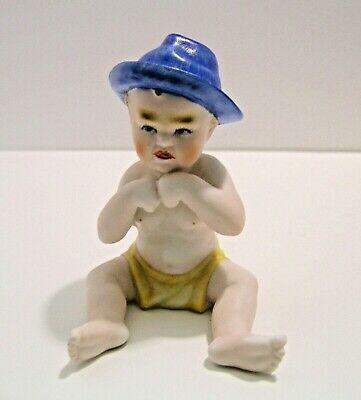 Vintage Bisque Piano Baby Lenwile ARDALT 6258 Hand Painted 1950's Japan Figurine