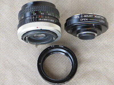 Canon FD Lens and Adapters - Rokinon 28mm - 'T' mount adapter and 'C' mount Nice
