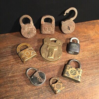 Vtg Antique Padlock Lot (9) Lock Collection of Locks Squire US Eagle Yale etc