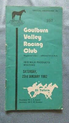 1982 Goulburn Valley Racing Club Official Programme Ibis Milk Products Meeting.