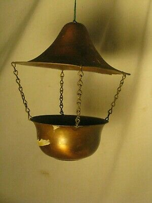 vintage small copper hanging plant pot roof lid hanger small chain rustic decor