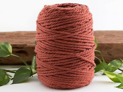 5mm rust macrame rope 3 ply coloured cotton cord string twisted australia brown