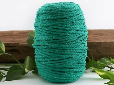 5mm sea green macrame rope 3 ply coloured cotton cord string twisted australia