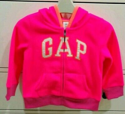 Baby Gap Hoodie Girls Fleece Jacket Zip Through Bright Pink Age 3 Years BNWT