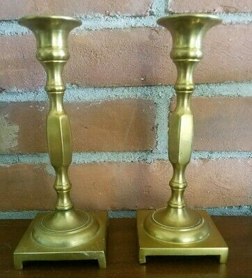 """Vintage, Matching Pair of Solid Brass, Decorative Candle Holders - 7 1/4"""" Height"""