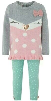 Monsoon Baby Girls Knit Set Jumper & Tights Grey & Pink Age 2-3 yrs BNWT