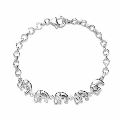 925 Sterling Silver Linked Elephant Bracelet Gift Jewelry for Mens Size 7.25''
